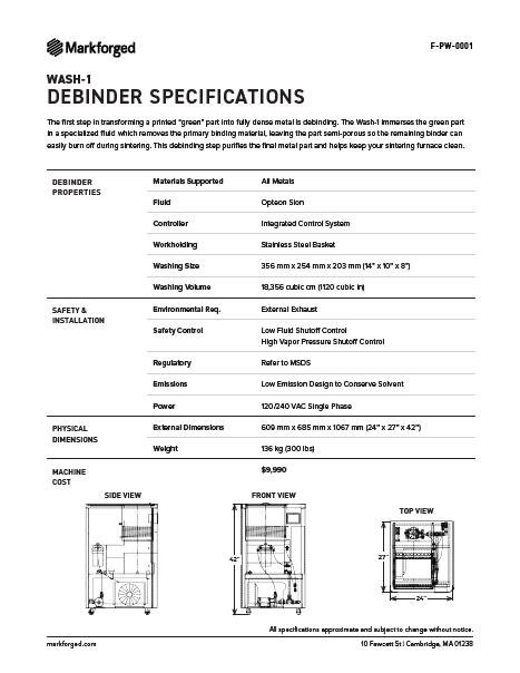 Wash 1 Specs PDF