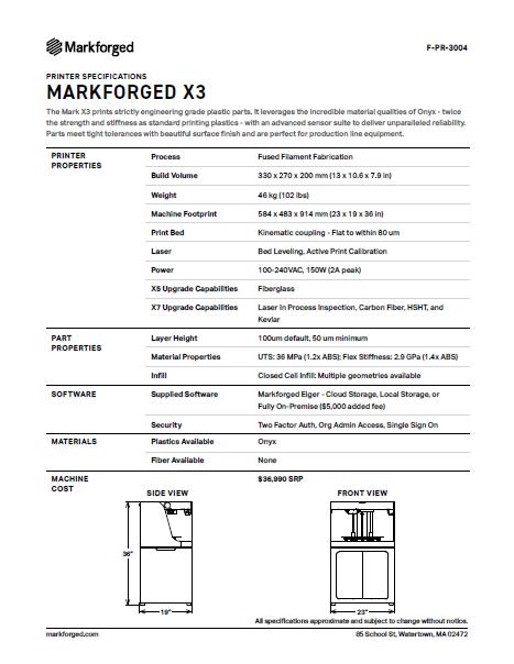 X5 Specs PDF