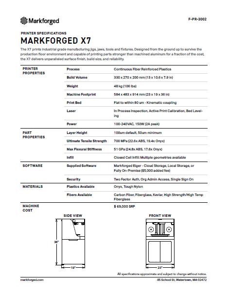 X7 Specs PDF