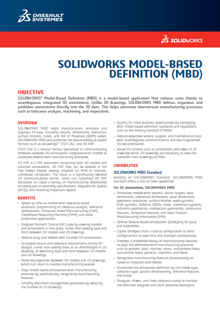 SOLIDWORKS MBD 2018 Data Sheet