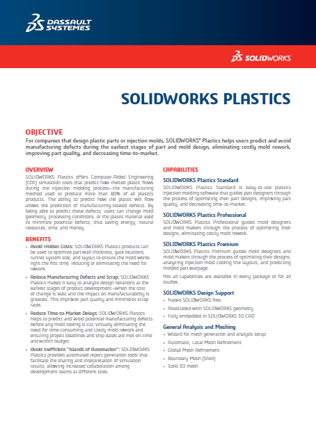 SOLIDWORKS Plastics Data Sheet