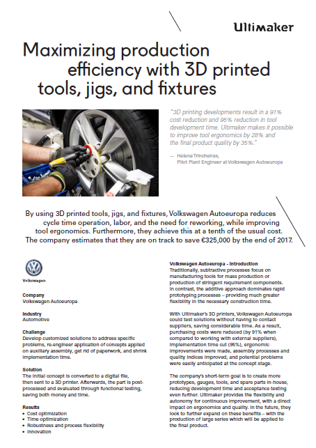 Ultimaker Volkswagen Case study