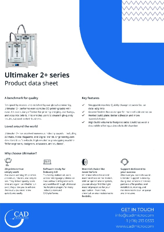 Ultimaker 2+ Data Sheet