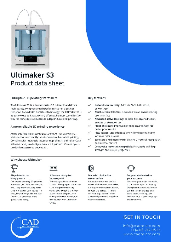 Ultimaker S3 Data Sheet