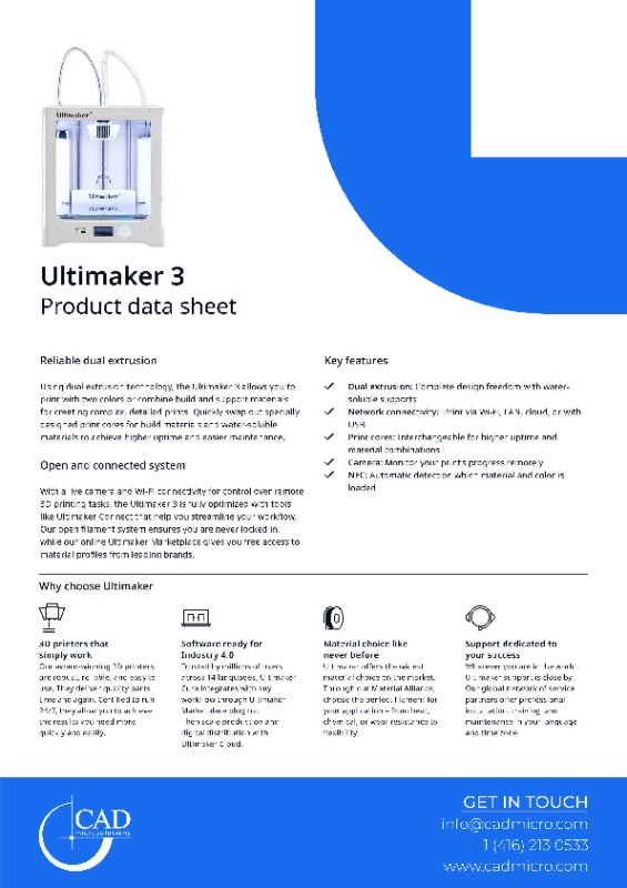 Ultimaker 3 Data Sheet