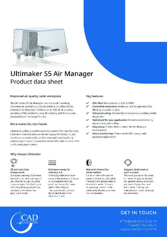 Ultimaker Air Manager Data Sheet