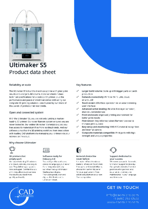Ultimaker S5 Datasheet