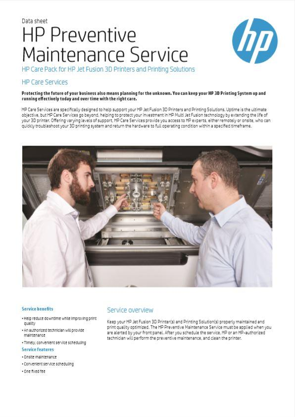 HP Preventative Maintenance Care Plan for HP 3D Printing Solutions