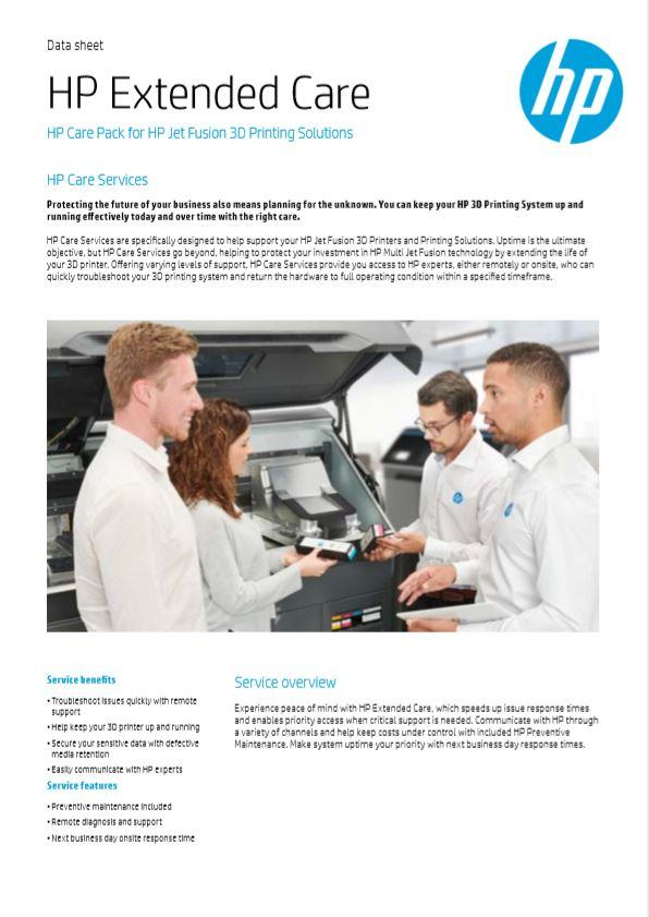 HP Extended Care Plan for HP 3D Printing Solutions