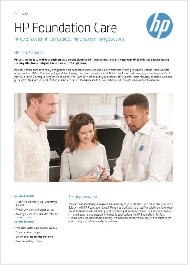 HP Foundation Care Plan for HP 3D Printing Solutions